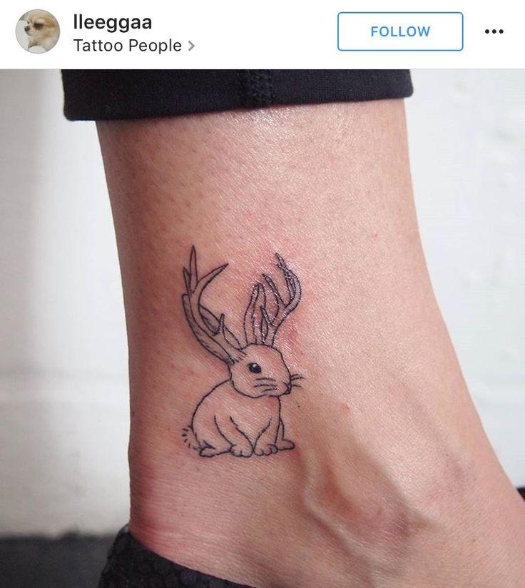 Little jackalope tattoo, black and grey, line-work.