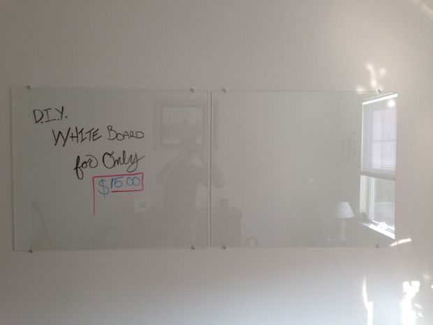 DIY Glass whiteboard with tempered glass and mirror hardware - paint back of glass white ?