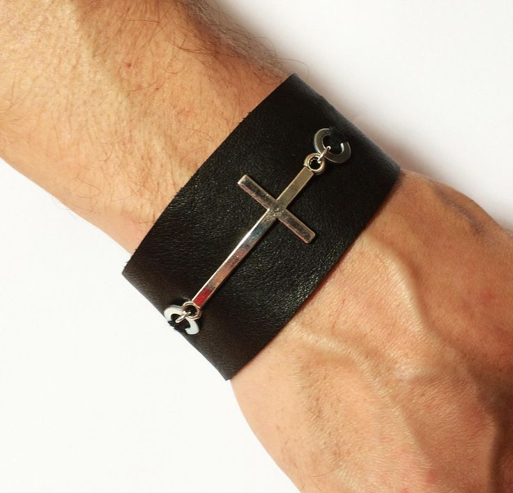 Leather bracelet with washers and a large cross - Black leather bracelet with a cross and washers - Leather bracelet for men - Cuff bracelet by leonorafi on Etsy