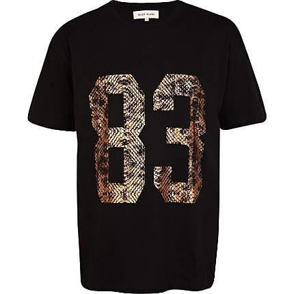Black animal foil print number t-shirt