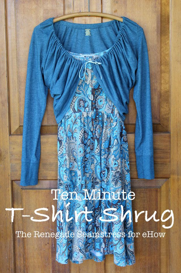 Ah, the pleasant air of spring…..makes me want to wear my summer dresses. But since it's not quite warm enough for some of them, I transformed an old t-shirt to make a quick shrug that will ward of...