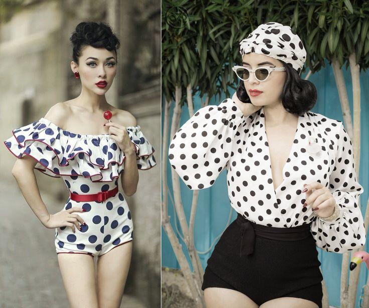 Wearing dots in vintage style - pretty stylish idea ;)