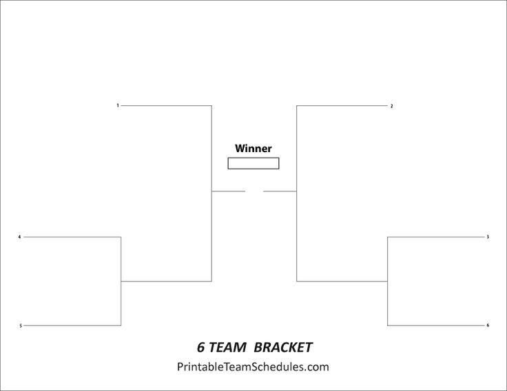 8 best images about tournament brackets free printable for 6 team draw template