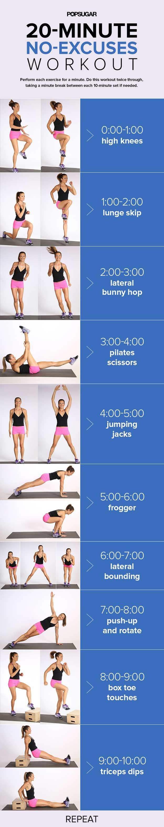 20-Minute No Excuses Workout | 14 Best Fitness Workouts for Head to Toe Toning, check it out at http://makeuptutorials.com/best-fitness-workouts-makeup-tutorials