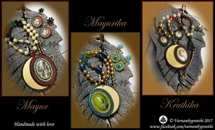 This a beautiful consolidation of these peacock based cabochons. Negative spaces are something I might probably be obsessed with because it brings out the beauty of the jewelry.  #day83 #100dayschallenge Mayurika, Kruthika - Sold Mayur - Available. Thank you Trinty, Dev beads, Maya khan,, A1 craft store for your supplies :) Also stay tuned to this page for something bright and vibrant this evening :) #handmadelove #varnambypreethi #cabochons #chennai #jewelry #accessories #peacock #trendy…