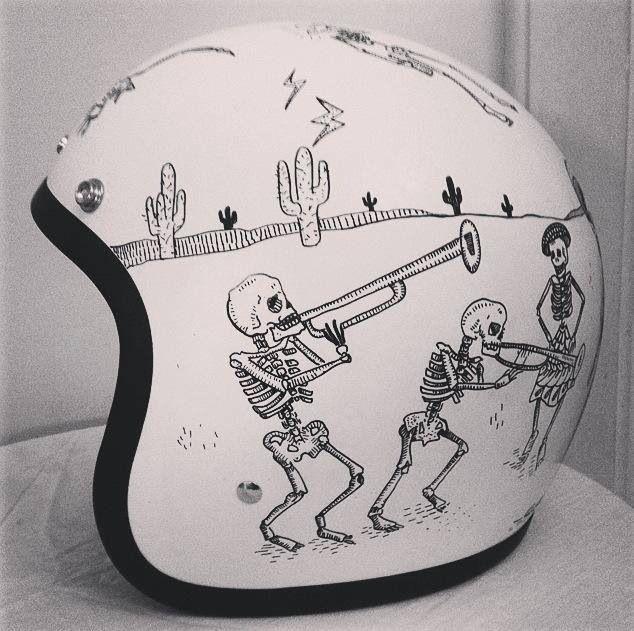 Day of the Dead design. Biltwell helmet painted by artist Rebecca Bonaci from Custom Lids. https://www.facebook.com/customlidsmalta