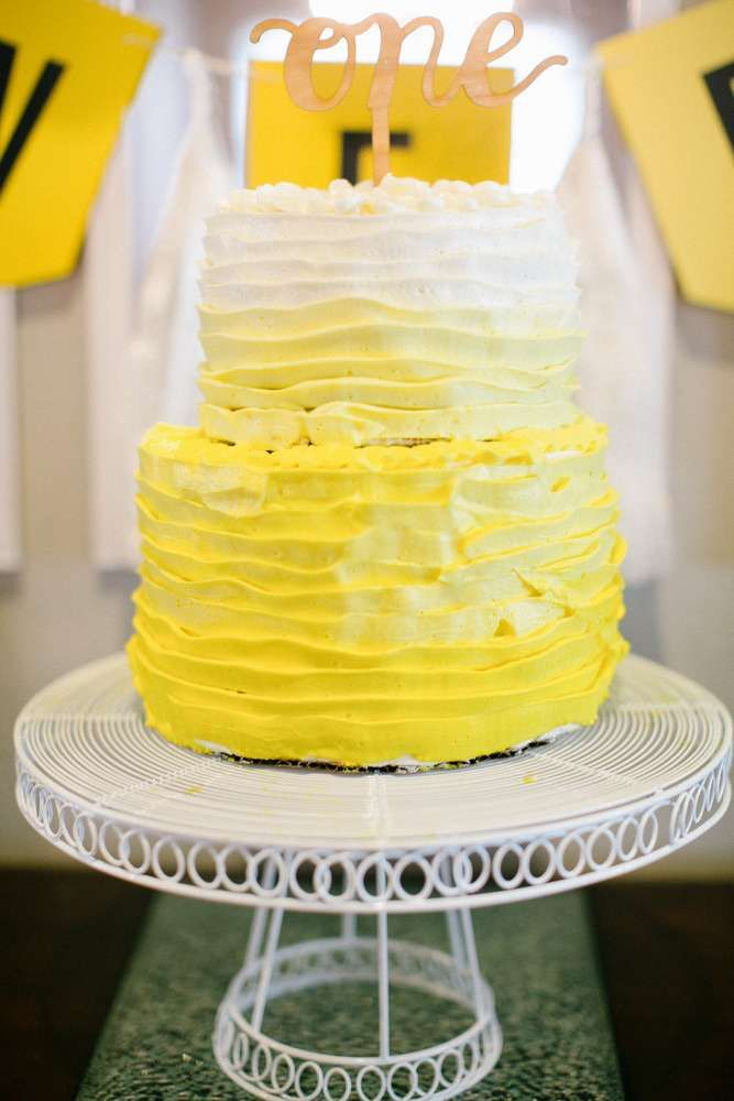 Yellow ombre cake at a sunshine birthday party! See more party planning ideas at CatchMyParty.com!