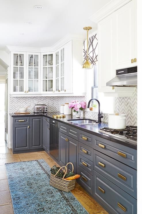 White Upper Cabinets And Gray Lower With Brass Hardware Kitchen Blue