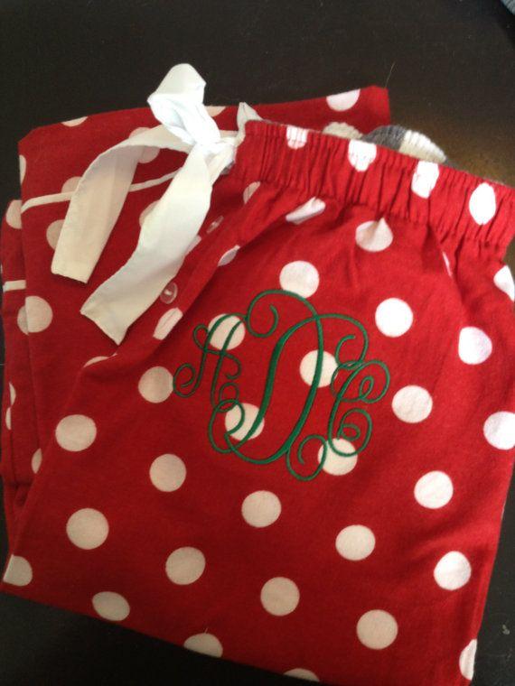 Monogrammed Christmas Pajama Pants - Girl Sizes on Etsy, $22.00