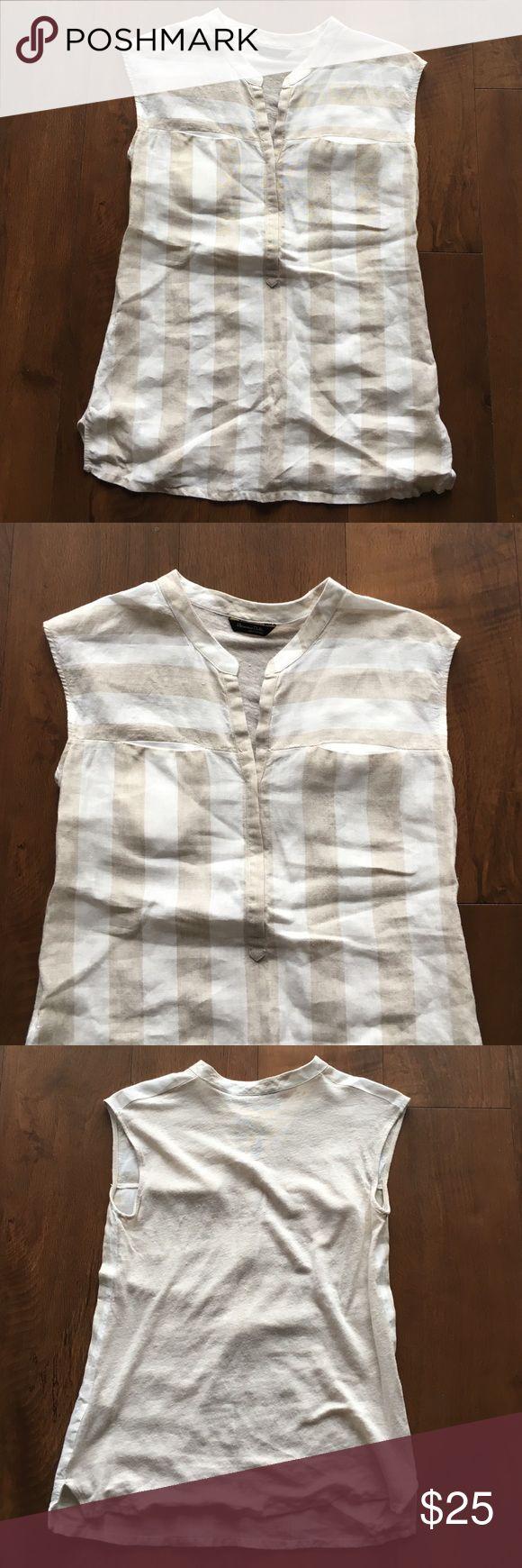 Massimo Dutti Striped Linen Shirt 100% Linen. EUC Massimo Dutti Tops Blouses
