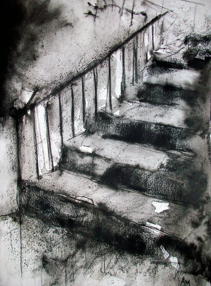 """""""Upstairs 03"""" by *a-mac088 @deviantART. watercolor, black ink, and charcoal"""