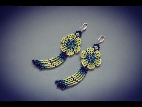 Seed Bead Flower Earrings with fringe