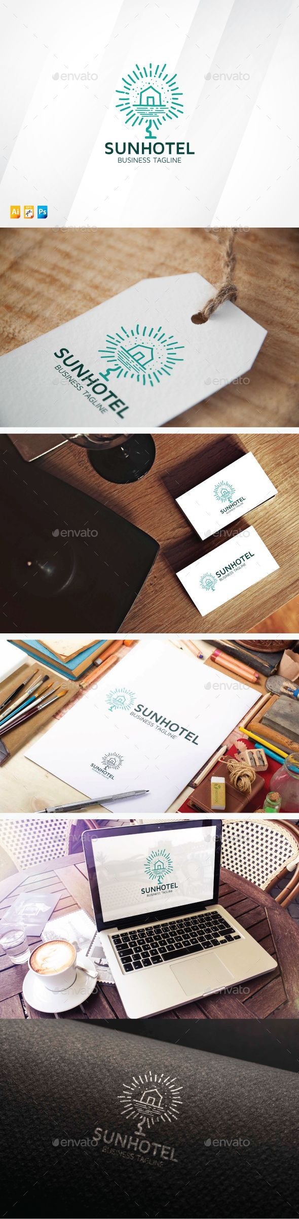 Sun Hotel Logo Design Template Vector #logotype Download it here: http://graphicriver.net/item/sun-hotel/13398177?s_rank=439?ref=nexion