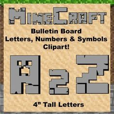 "Bulletin Board Clip Art Letters - 4"" tall Solid Grey Minecraft  Keywords: minecraft, mine craft, bulletin board, letters, clip art, presentation, classroom decoration, cut out, letters, numbers, symbols, math, writing, algebra, printable, manipulatives, alphabet, numbers, punctuation, multiplication, division, flashcards, color, pack, clipart, search, pattern, design, zebra, www.zisforzebra.com"