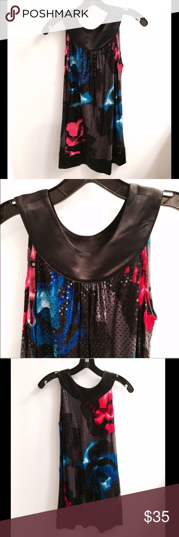 Express Rose Mini Dress Express - only worn once! Fun black mini dress with bright pink and bright blue roses. Fabric has sparkly effect with sequin-type embellishments. Black satin bib collar. Baby doll style dress. Adorable and so cute for party or fun date night! Size XS. Express Dresses Mini