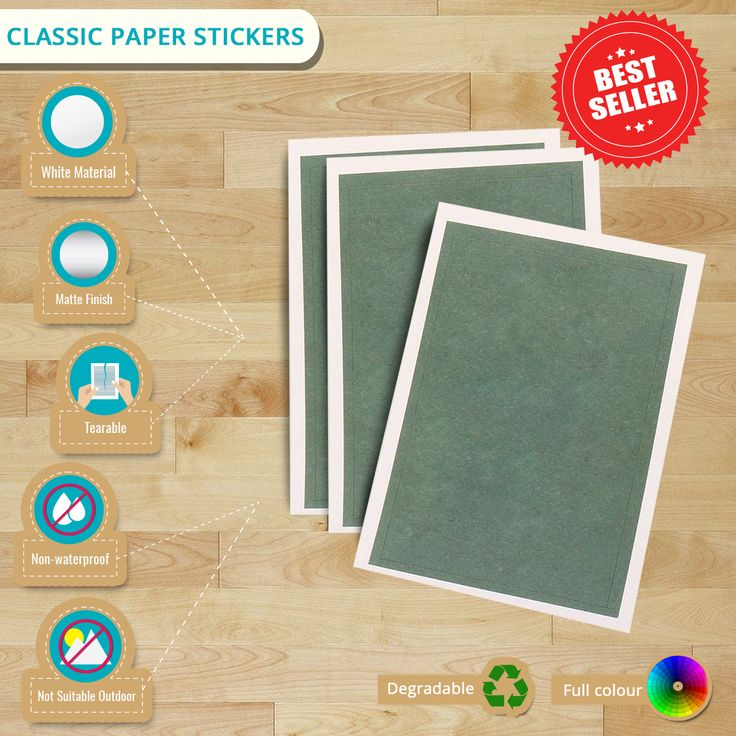 Infographic: Classic Paper Stickers - more luxurious than our Matt Paper Stickers. Also, it is perfect for writing extra details on your labels.