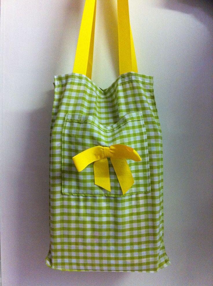 Handmade  Spring Green  Gingham Over-the-shoulder Shopping Tote. Folds flat.