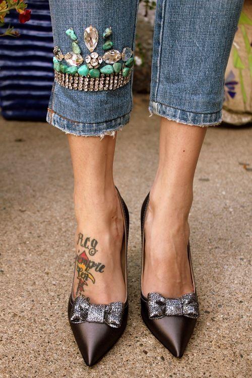 Lovely JEWELED HEM (only on one leg)