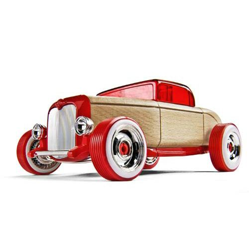 This big red machine has the lines of a classic hot rod. Equipped with chrome wheels, headlight buckets, and grill, this cruiser will really stand out in a crowd.  The parts are also interchangeable with other full-size Automoblox models. 	Automoblox® is the reinvention of the classic wooden car toy – a fusion of traditional craftsmanship and modern design, transformed into a mix-and-match building system that allows kids to create car