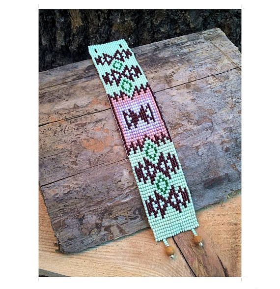 Depp Woods Native Amerika stijl parel armband, groene Bead Loom armband, Native Amerika inspireerde sieraden, Native Amerika parel sieraden
