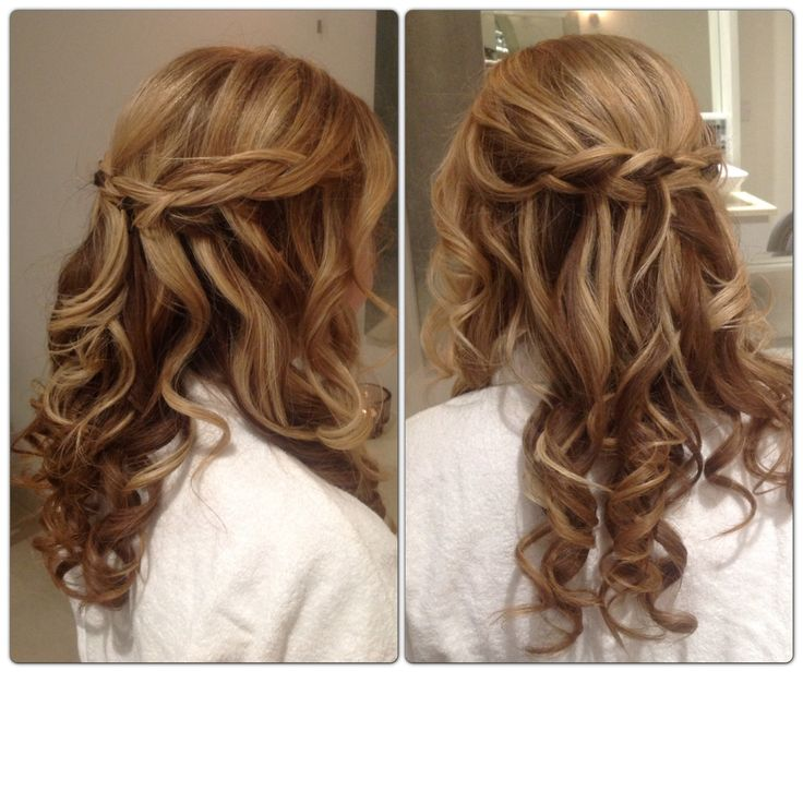 braid curl wedding hair half up half down bridal style