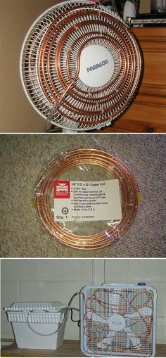 How to Build Your Own Air Conditioner Fan, using just a tabletop fan, copper tubing, flexible plastic tubing, fish tank pumps, and a cold water reservoir.   #DIY Tiny Homes