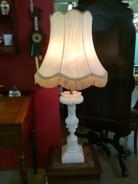 Alabaster Lamp  4' Tall   $375  Butler Creek Antiques Dealer #8804  Lucas Street Antiques 2023 Lucas Dr. Dallas, TX 75219