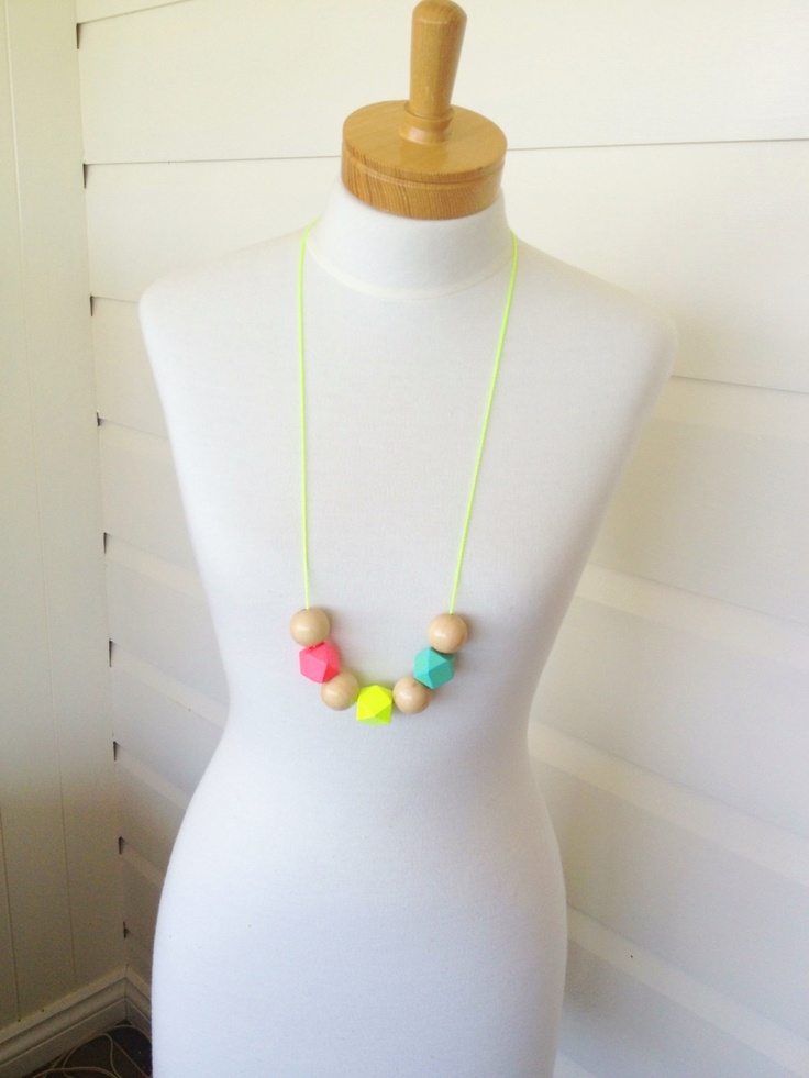 Summer Love Bead Necklace - Hand Painted Wooden Bead Necklace - Neon Yellow. $25.00, via Etsy.