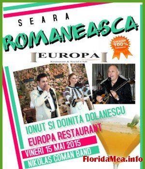 Seara romaneasca de exceptie, cu Ionut si Doinita Dolanescu si Nikolas Coman Band la Europa Restaurant | Florida Mea - Romanians in Florida