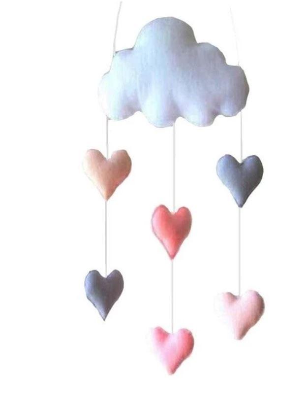 Cloud And Hearts Hanging Decor Baby Room Diy Diy Baby Room Decor Cloud Decoration
