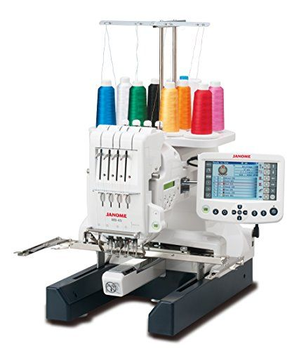 "Janome MB4S Commercial 4 Needle Embroidery Machine ""World's First"" Home-Use Four-Needle Embroidery Machine We've taken everything you love about Janome embroidery and quadrupled the capacity! With our four needle machine, you can set up your embroidery and move on to other projects while the MB-4S gets it done. The MB-4S is built to work with most embroidery formats, including those used by industry professionals. It is compatible with six industry-standard Tajima hoops, as well as .."