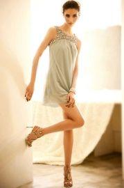 Shiny Rhinestone Embellished Sleeveless Mini Dress
