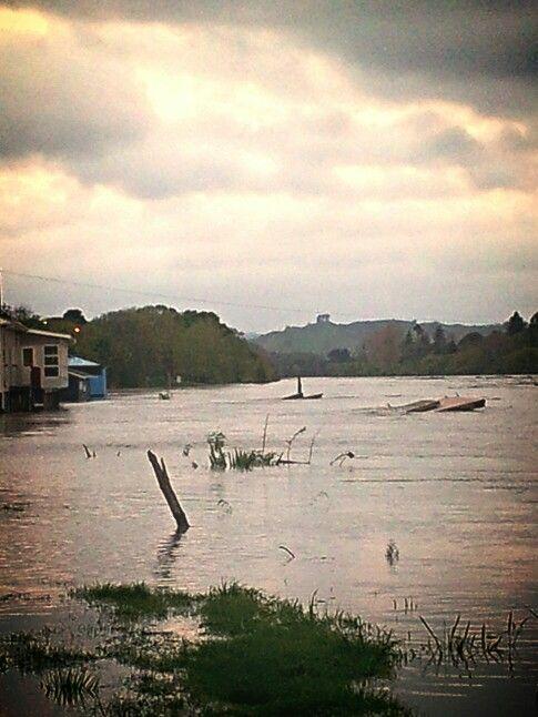 Wanganui river in flood 15 October 2013. New Zealand