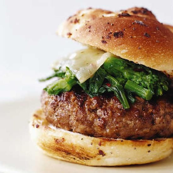 Sausage and Broccoli Rabe Burgers | Chef Marc Vetri believes that many of his favorite Italian ingredients—homemade sausage, broccoli rabe and Fontina cheese—go wonderfully with pasta, but make even better burgers.