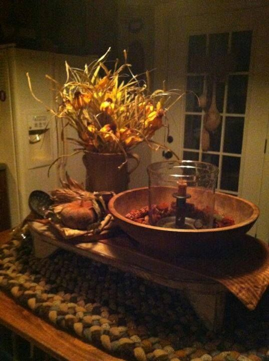 365 best images about primitive decorating on pinterest bowl fillers soap holder and wooden bowls - Kitchen table centerpiece bowls ...