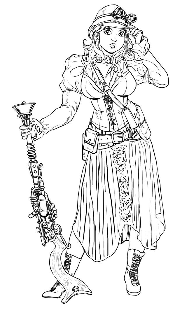 Steampunk Adult Coloring Page