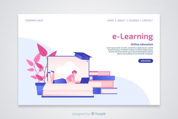 Download E Learning Concept Flat Landing Page For Free Banner