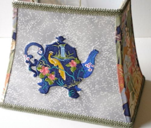 Asian Lamp Shade Hollywood Regency Lamp Asian Decor Chinoiserie Teapot Embroidery Fabric Lampshade Oriental Decor Lamp Shade Asian Lampshade by AShadeFancier on Etsy