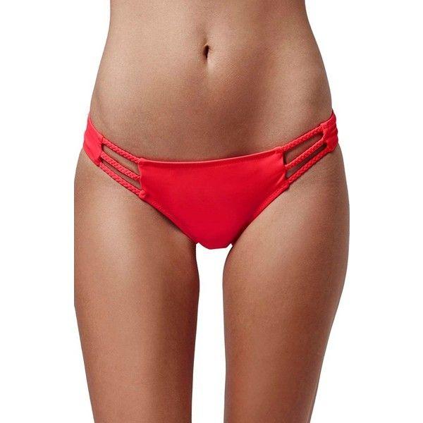 Topshop Braided Strap Bikini Bottoms (€16) ❤ liked on Polyvore featuring swimwear, bikinis, bikini bottoms, red, bohemian bikini, topshop bikini, swim bikini bottoms, red bikini bottoms and cut out bikini