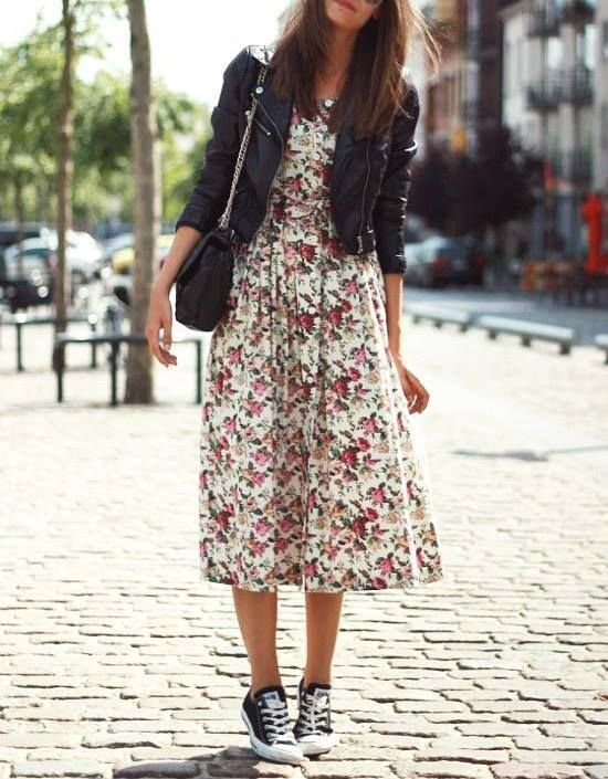 leather jacket, floral dress