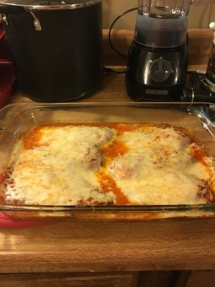 My family loves this recipe. I use perdue perfect portions boneless skinless breasts and ragu extra meat spaghetti sauce when making this. This is quick and easy to make. There are never any leftovers.