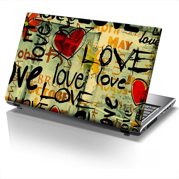 Laptop sticker LOVE GRAFFITY! www.sticky.gr