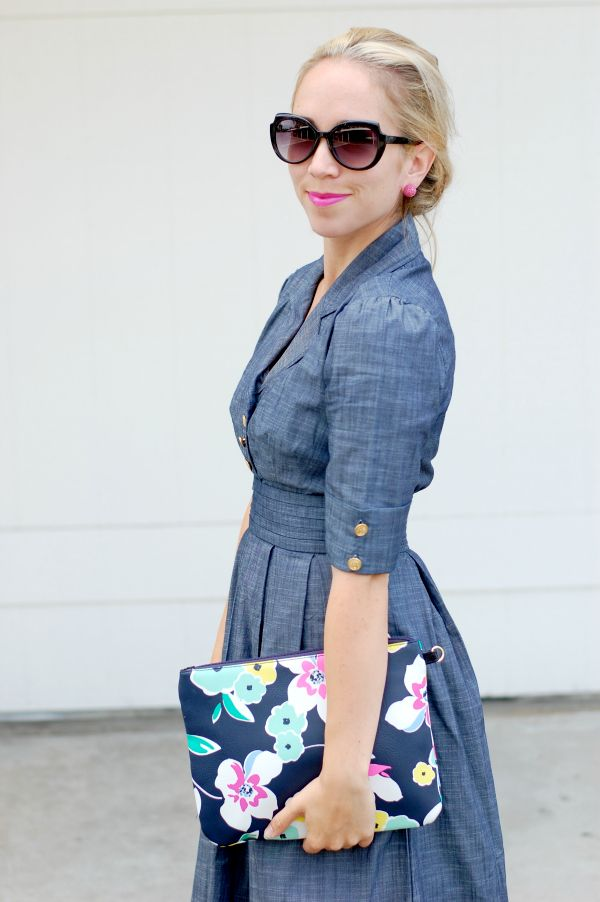 This is a great way to wear a floral purse, paired with a denim dress that really lets it shine. We're thinking of Sharif's garden party crossbody on www.HSN.com.