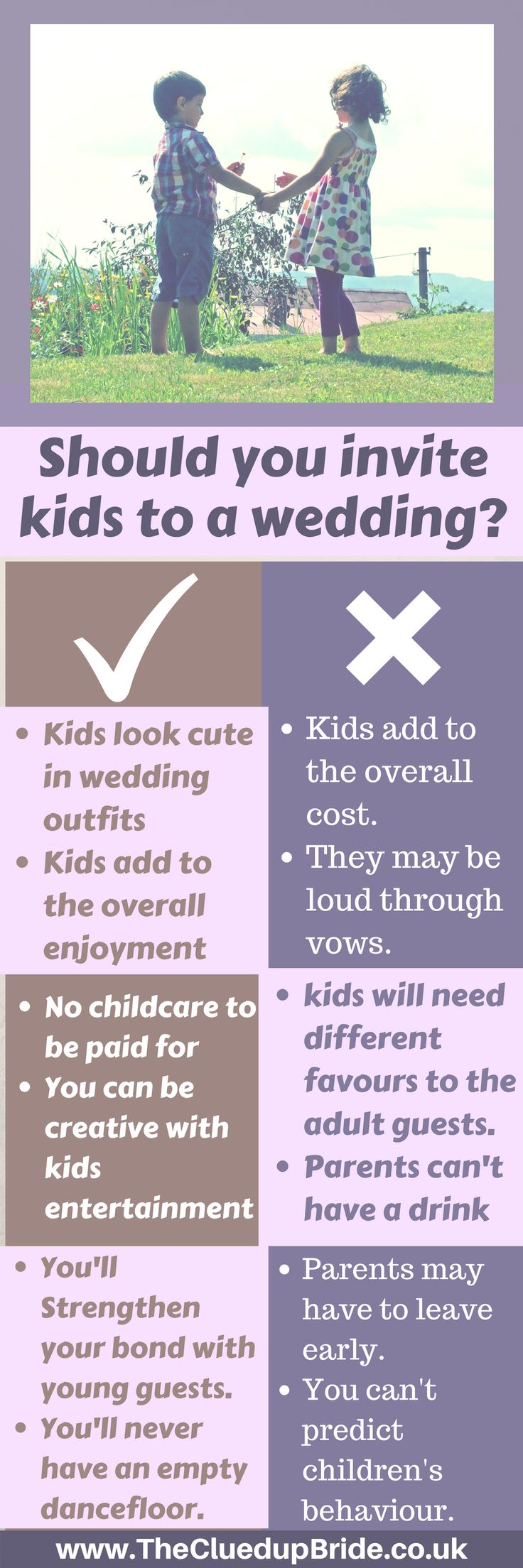 Should you invite kids to your wedding?How will you break the news of a child free wedding to parents? Have you thought about different wedding favours for kids? Here are the pros and cons before you send out those invitations!