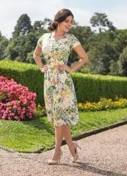 Vestido com Gola Redonda Floral e Verde - Posthaus