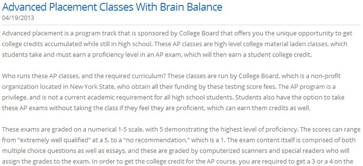 Advanced Placement Classes With Brain Balance