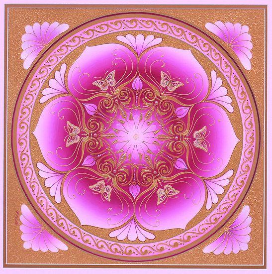 Contemplating Pink Lotus Mandala by Mandala Magic  Karen Scott Transformation through love