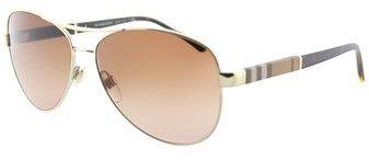 Burberry Be 3080 114513 Light Gold Aviator Sunglasses.