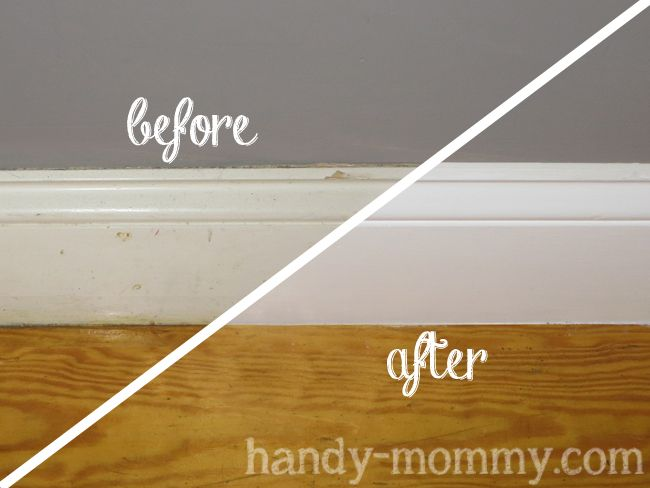 Freshen up your white baseboards with this simple trick. Via Handy Mommy: Making Old Baseboards Look Pretty