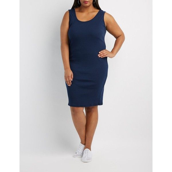 Charlotte Russe Ribbed Bodycon Dress ($15) ❤ liked on Polyvore featuring plus size women's fashion, plus size clothing, plus size dresses, navy, plus size bodycon dresses, plus size summer dresses, navy plus size dress, strappy bodycon dress and summer bodycon dresses